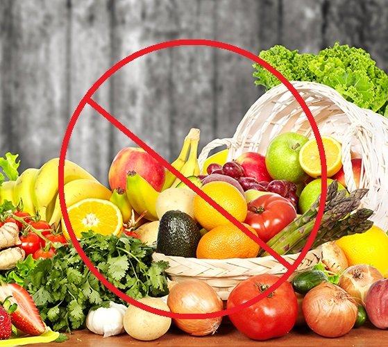 Исключить свежие овощи и фрукты при хроническом гастрите